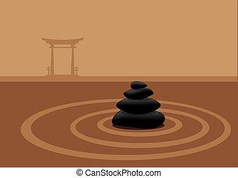 piedras, apilado, japonés de jardín, tradicional, arena,...