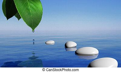 piedras, azul, hoja, gota, zen, agua, verde