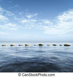 piedras, azul, paso, mar