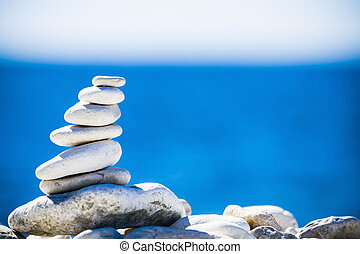 piedras, balance, guijas, pila, encima, azul, mar, en,...
