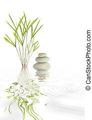 piedras, bambú, zen