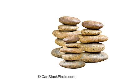 piedras, blanco, aislado, Pila