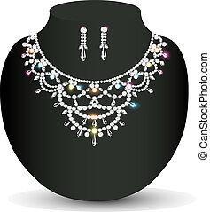 piedras, boda, collar, pendientes, precioso, mujeres