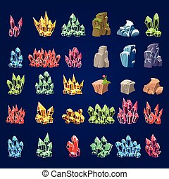piedras, conjunto, caricatura, mineral