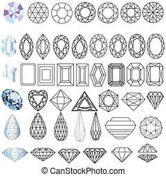 piedras, corte, formas, conjunto, gema preciosa