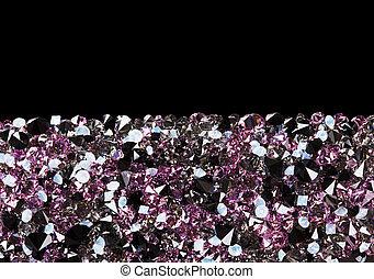 piedras, diamante, espacio, púrpura, joya, negro, lujo, plano de fondo, copia
