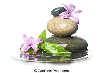 piedras, en, agua