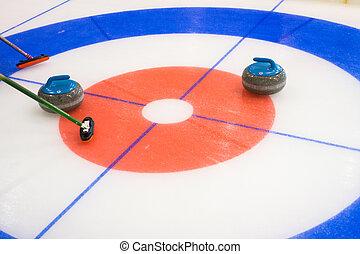 piedras, equipo, deporte, curling