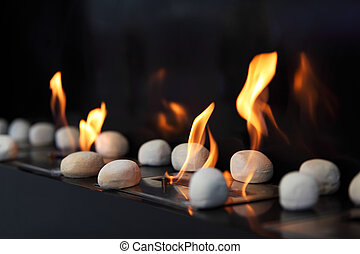 piedras, hermoso, llamas, amarillo, blanco, chimenea, ...