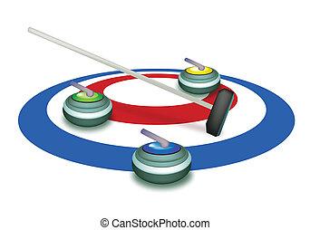 piedras, hoja, curling, colección, hielo