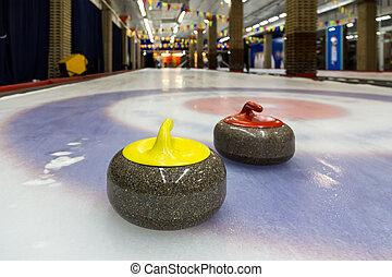 piedras, interior, curling, pista