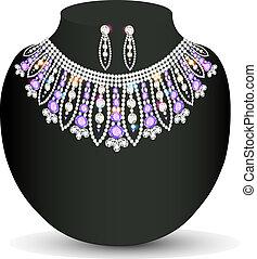 piedras, lila, hembra, collar, pendientes, precioso