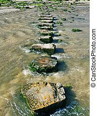 piedras, lotes, a través de, caminar, stream.