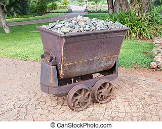 piedras, minería, aherrumbrado, viejo, carruajes, llenado