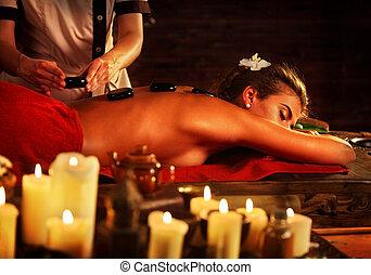 piedras, mujer, velas, fondo., balneario, niña, salon., masaje