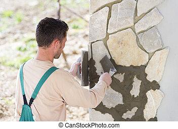 piedras, pared, hombre, natural, poniendo
