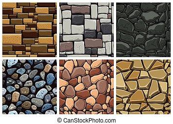 piedras, patrón, conjunto, seamless