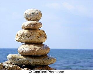 piedras, pirámide, mar
