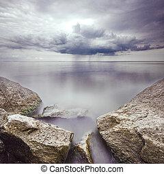 piedras, plano de fondo, largo, agua, tormenta, exposición