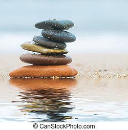 piedras, playa de arena, pila