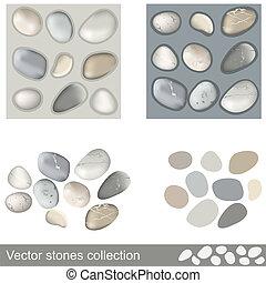 piedras, vector, colección