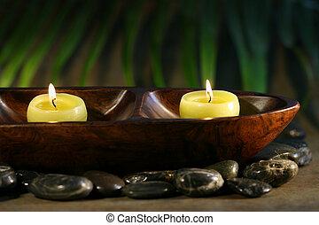 piedras, velas, masaje, balneario