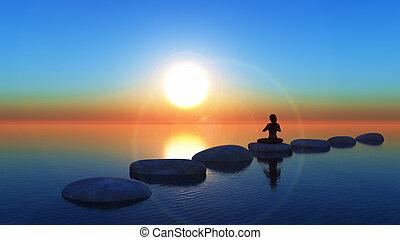 piedras, yoga, caminar, postura, océano, hembra, 3d