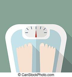 pieds, échelle, nu, poids