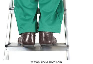 pieds, échelle, ouvrier