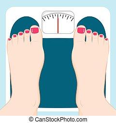pieds, échelle, poids