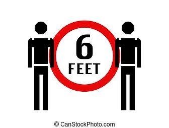 pieds, arrière-plan., vecteur, gens, distancing, séparément...