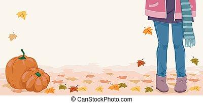 pieds, automne, girl, bannière