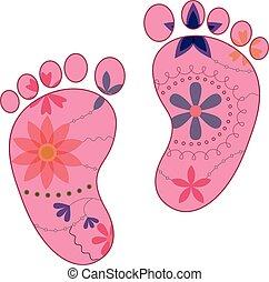 pieds bébé, girl, peint, silhouettes, vendange