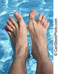 pieds, baignoire, piscine, délassant, homme