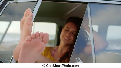 pieds, campeur, délassant, fourgon, 4k, haut, femme