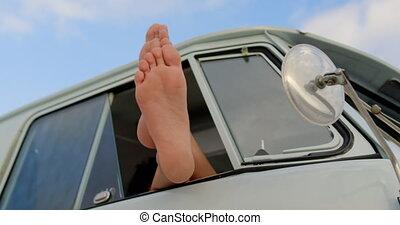 pieds, campeur, délassant, fourgon, plage, haut, 4k