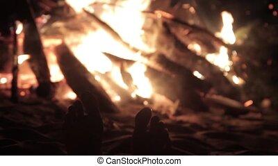 pieds, chaud, fire.
