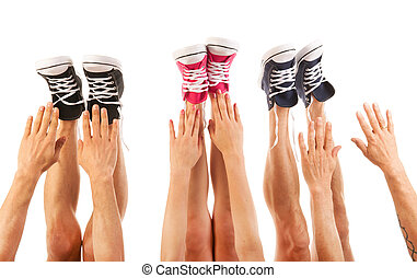 pieds, chaussures basket-ball