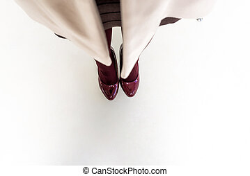 pieds, chaussures, sommet, sombre, femme, jambes, rouges, vue
