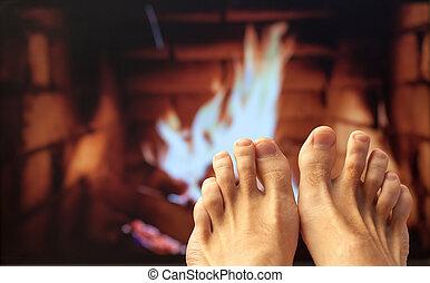 pieds, cheminée, chauffé