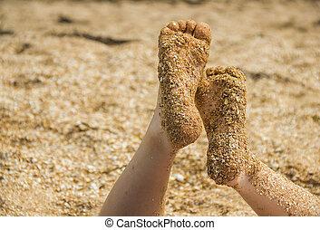 pieds, childs, plage