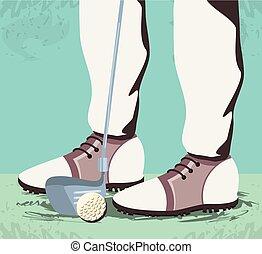 pieds, cours, golfeur, golf