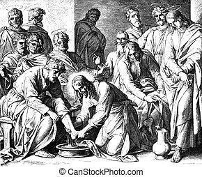 pieds, disciples', lavage, jésus