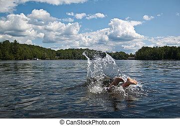 pieds, diver's, disparaître, lac