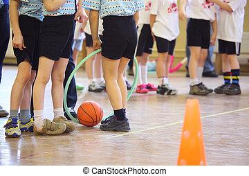 pieds, enfants, gymnastique salle