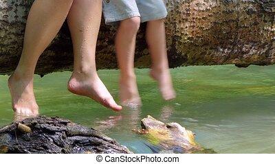 pieds, enfants, jeu, adultes, water.