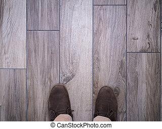pieds, faux, tuiles, plancher bois