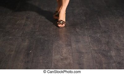 pieds, femme, chaussures, danse
