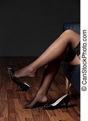 pieds, femme, nylons