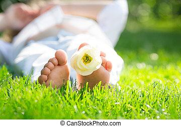 pieds, fleur